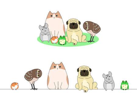 Un insieme di animale domestico, una riga e un gruppo