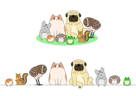 conjunto de mascotas, una fila y un grupo