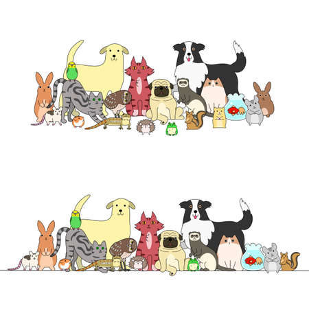 simple border: set of pets, a row and a group