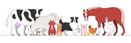 in a row: farm animals in a row Illustration