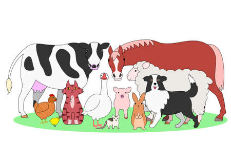 whole chicken: farm animals in a group Illustration