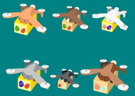 Rabbit drone carrying the Easter Egg