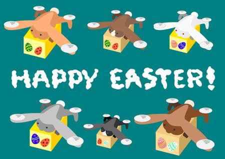 復活祭の卵を運ぶウサギ ドローン  イラスト・ベクター素材