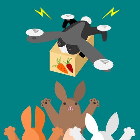 それらを持っているウサギはウサギ型ドローンでニンジンを提供します。