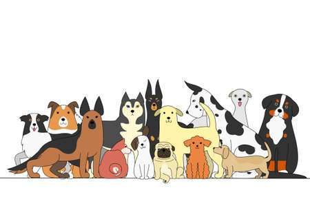 Group of dogs Illustration