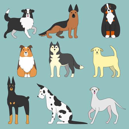 varios perros Ilustración de vector