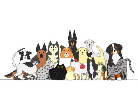 simple border: Group of dogs and cats