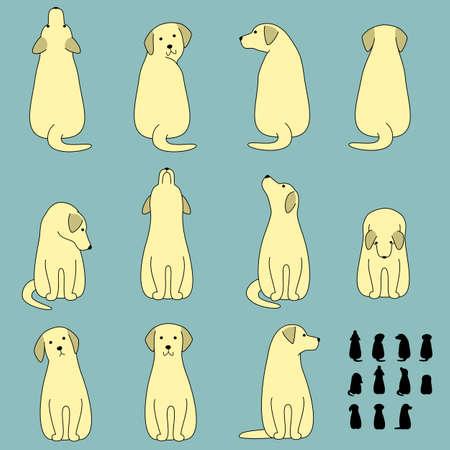 the whole body: Set of dog sitting poses