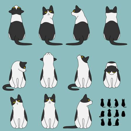 Conjunto de poses gato sentado