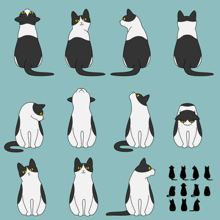 Set of cat sitting poses Çizim