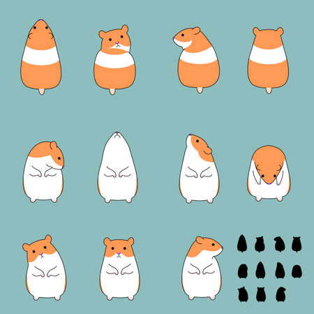 Set of hamster standing poses Illustration