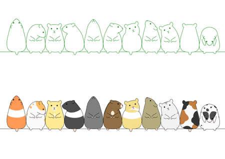 kleurrijke hamsters in een rij Stock Illustratie