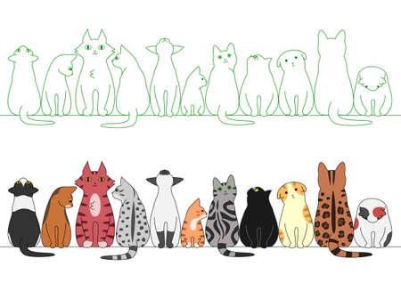 行のさまざまなポーズの猫