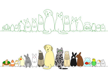 various posing pets in a row