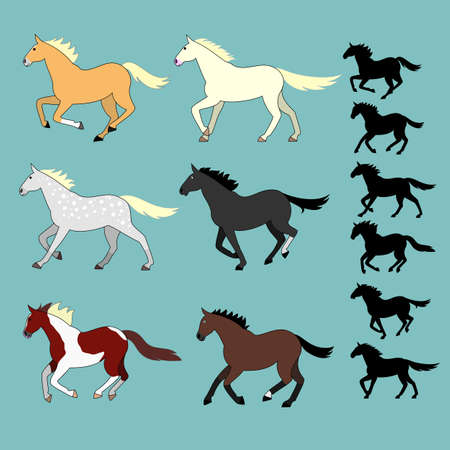 pinto: running horses set with silhouettes