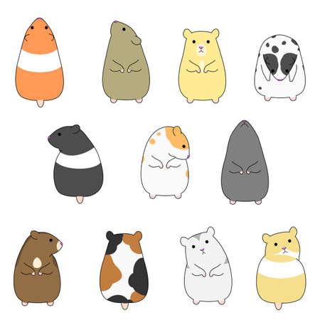 colorful hamsters set Ilustracja