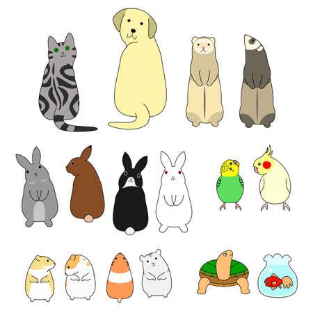 various posing pets set 일러스트