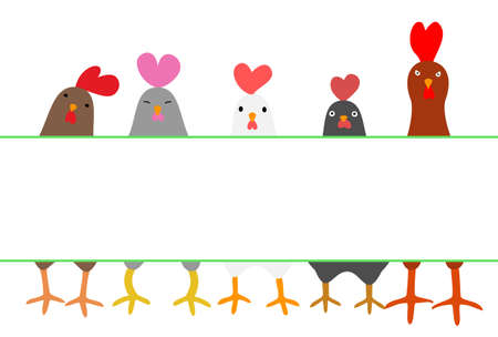 copy: cute roosters with copy space Illustration