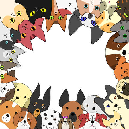 shih: Cute dogs and cats card Illustration