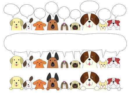 cute dogs: Cute dogs border set Illustration