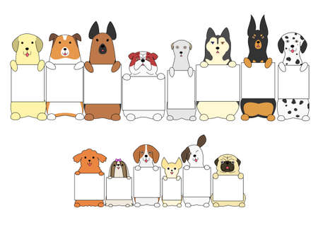 shih: dogs standing with the card Illustration
