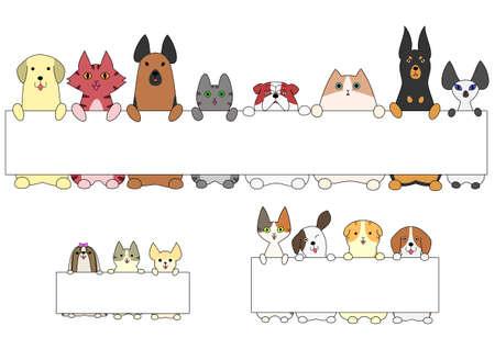 犬や猫、カードの側に立って