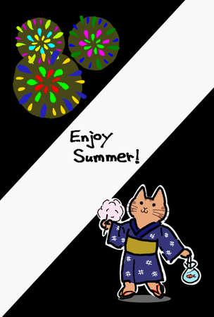 yukata: Yukata cat looking up the fireworks Illustration