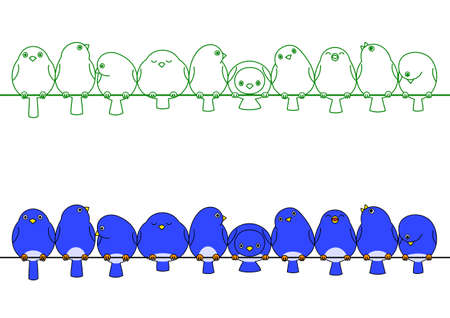 in a row: blue birds in a row Illustration