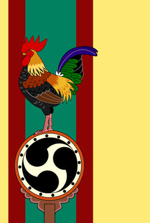 asian family: rooster standing on Japanese old drum