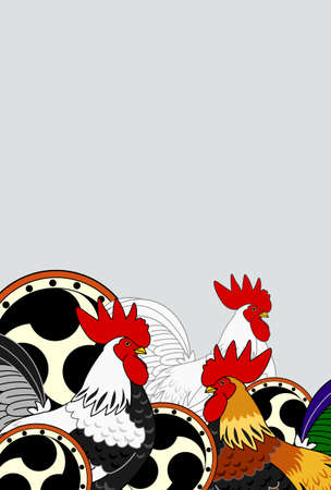 asian family: old Japanese drums and roosters