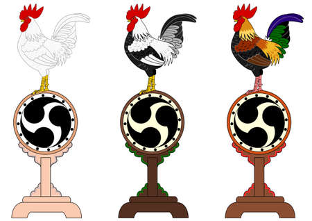 asian family: set of roosters standing on Japanese old drums Illustration