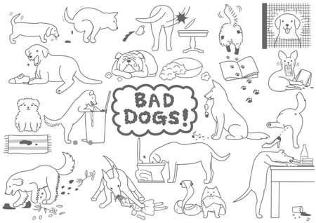 slechte honden set Stock Illustratie