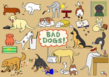 zestaw złych psów Ilustracje wektorowe