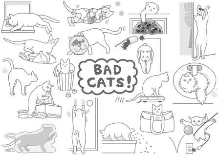 bad cats set Vectores