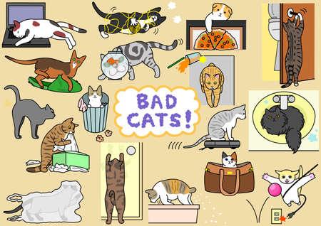 goldfish jump: bad cats set Illustration