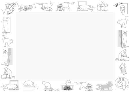 wash hand stand: bad cats frame Illustration