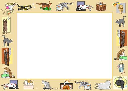 goldfish jump: bad cats frame Illustration