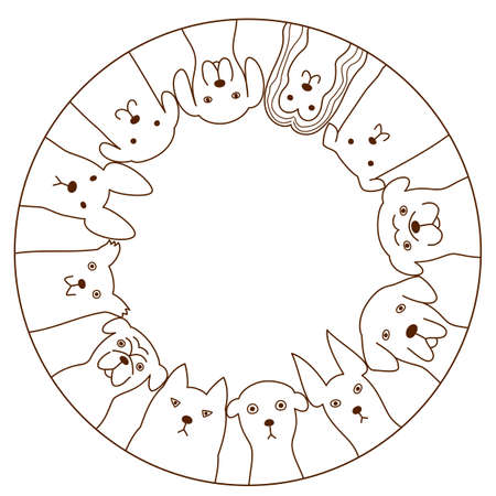 afghan hound: dogs circle Illustration