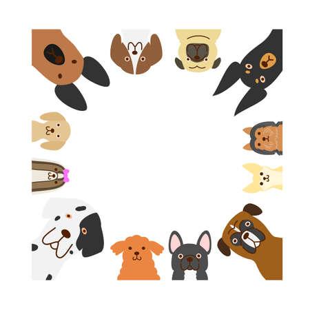 大きく、小さい犬の正方形のフレーム  イラスト・ベクター素材