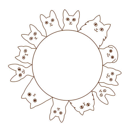 abyssinian: cats circle Illustration