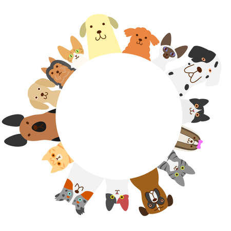dogs and cats circle Ilustracja
