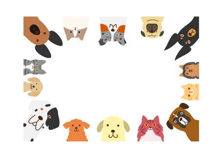 개와 고양이의 사각형 프레임 일러스트