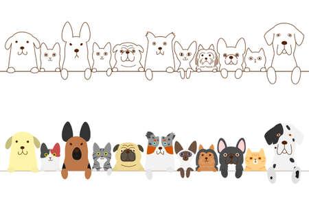 Psów i kotów zestaw graniczny Ilustracje wektorowe