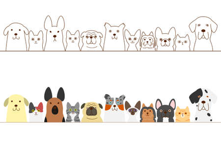 dogs and cats border set  イラスト・ベクター素材