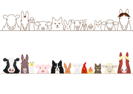 in a row: farm animals border set