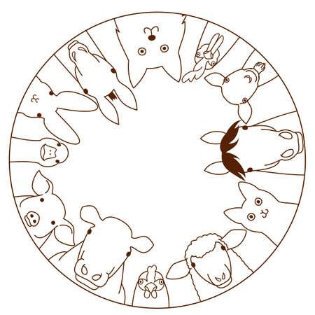 ilustracion: animales de granja círculo
