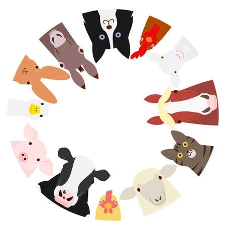 ファーム動物円  イラスト・ベクター素材