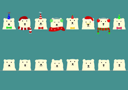 ear muffs: Cute polar bear border Illustration
