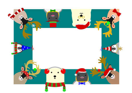 colorful frame: cute arctic animals rectangle frame Illustration