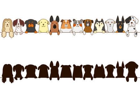 gros chiens frontière avec silhouette
